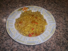 Il risotto ai peperoni e curry pronto